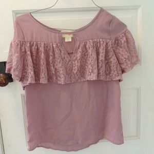 Wishful Park pink lacy shirt sz small